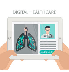 digital health concepts user using a tablet to vector image