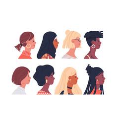diverse women portrait set isolated vector image