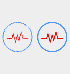 Dot and flat pulse signal icon vector