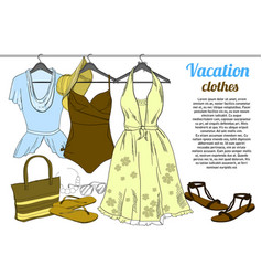 drawing summer woman clothes on vector image
