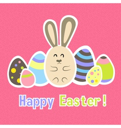 Easter colorful pink card template vector