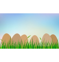 easter eggs on grass vector image