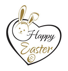 easter lettering card easter bunny and easter egg vector image