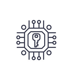 Encryption cryptography linear icon vector