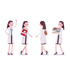 female scientist walking vector image