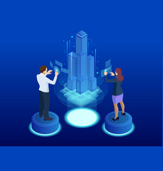 Financial technology smart city isometric concept vector