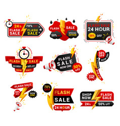 flash sales shopping promotional labels set vector image