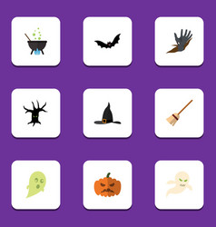 Flat icon halloween set of witch cap magic vector