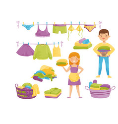 Flat set of cartoon laundry icons clean vector