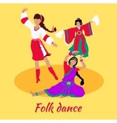 Folk Dance Concept Flat Design vector