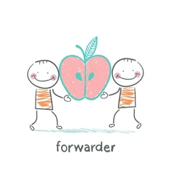 forwarder is holding an apple vector image