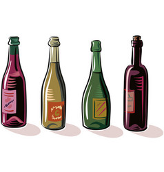 four classic wine bottles vector image