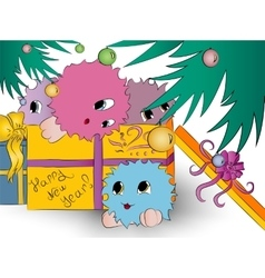 four cute colorful monsters gift box christmas vector image