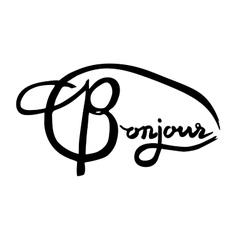 French phrase - Bonjour Modern brush calligraphy vector