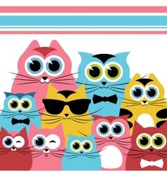 Funny cats family vector