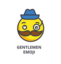 gentlemen emoji line icon sign vector image