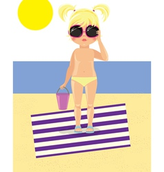 Girl in glasses on the beach vector image