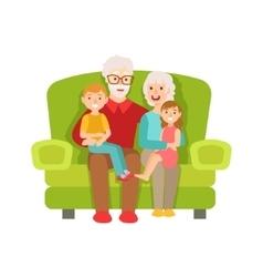 Grandparents And Grandchildren Sitting On The Sofa vector