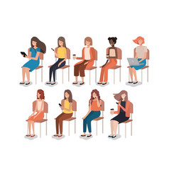 Group of women using smartphone sitting in chair vector