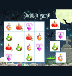 halloween sudoku game template with witch potion vector image