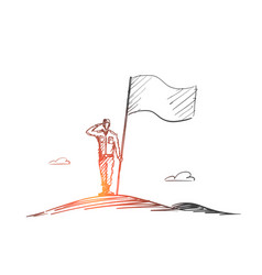 Hand drawn patriot soldier standing with flag vector