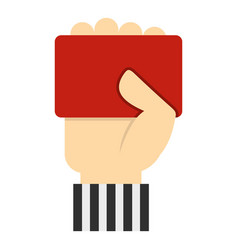 Hand of soccer referee showing red card icon vector
