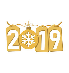 Happe new year gold background isolated 2019 vector