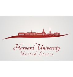 Harvard University skyline in red vector
