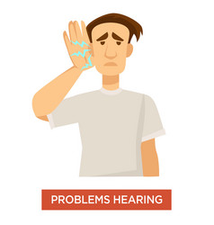 Hearing problem deaf man ear dysfunction treatment vector