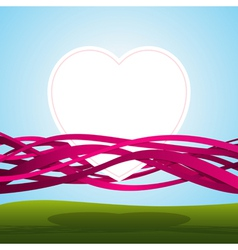 heart in pink ribbons vector image