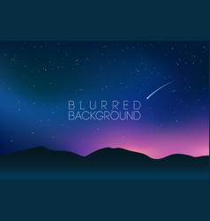 horizontal wide blurred mountain night stars sky vector image