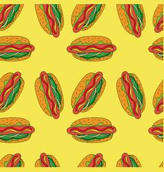 Hotdog seamless pattern hand drawn vector