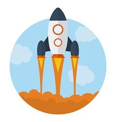 Icon of Flying Rocket Start Up symbol Flat style vector image