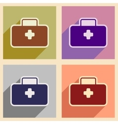 Icons of assembly medical suitcase in flat style vector