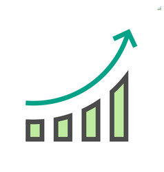 Increase and arrow icon 48x48 pixel perfect vector