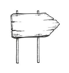 ink sketch of wooden signpost vector image