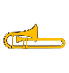 Isolated trombone sketch musical instrument vector