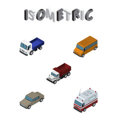 isometric automobile set of first-aid lorry vector image