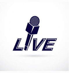journalism theme logo created with microphone and vector image