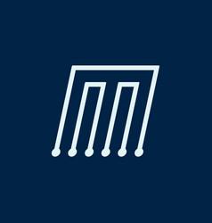 Letter m font maze italic geometric vector