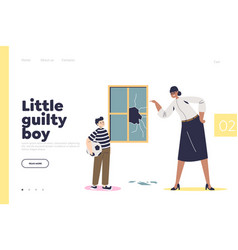 Little guilty boy concept landing page vector