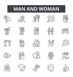 man and woman line icons signs set vector image