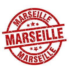 Marseille red round grunge stamp vector