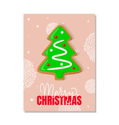 merry christmas greeting card gingerbread tree vector image