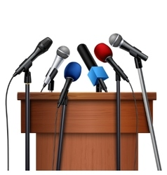 Microphones And Tribune For Conference Set vector