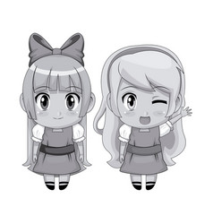 Monochrome full body couple cute anime girl facial vector