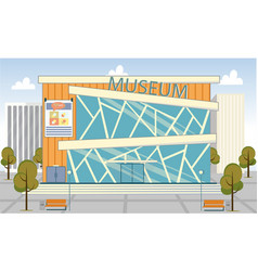 Museum modern flat building with glass exterior vector