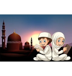 Muslim couple reading books vector