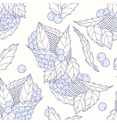 Outline hand drawn leaves and berries seamless pat vector