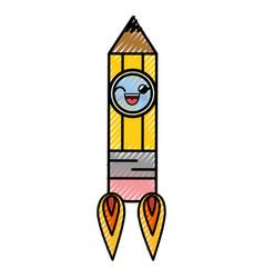 Pencil rocket cartoon smiley vector